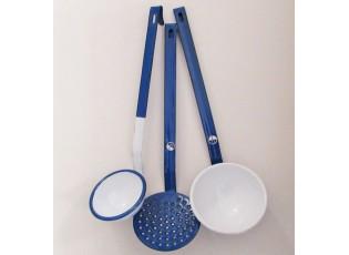 Sada 3ks modrých smaltovaných naběraček White blue - 8-10cm