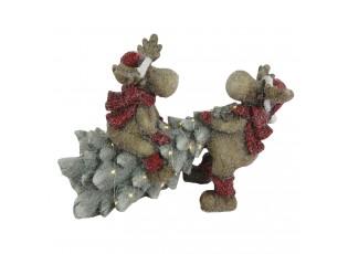 Dekorace Sobi s LED vánočním stromečkem - 39*26*29 cm