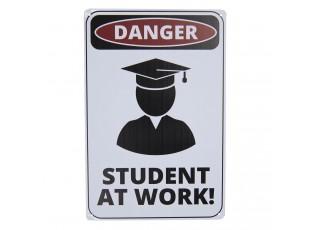 Bílá nástěnná kovová cedule Student at work  - 20*30 cm