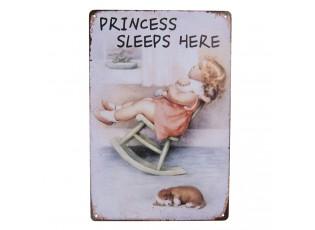Vintage plechová cedule s děvčátkem na houpací židli Princess - 20*30 cm