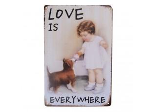 Vintage plechová cedule s děvčátkem a pejskem Love - 20*30 cm