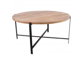 Kovový konferenční stůl Malmo s dřevěnou deskou - Ø80 * 40cm