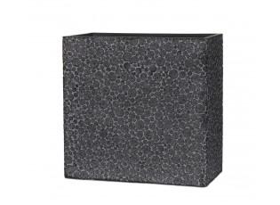 Černý hranatý vysoký květináč s letokruhy Wood  - 31*16*29 cm