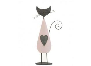 Růžovo-šedá dekorace kočka Cat - 13*7*32 cm