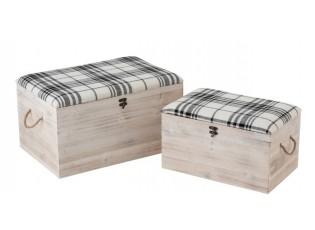 Sada 2x bílá dřevěná truhla s textilním sedákem Matte - 60*40*34cm