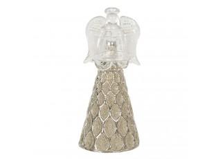 Skleněný anděl se svícnem Léonne – Ø 7*16 cm