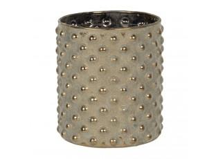 Šedý skleněný svícen na čajovou svíčku Silvain - Ø 6*9 cm