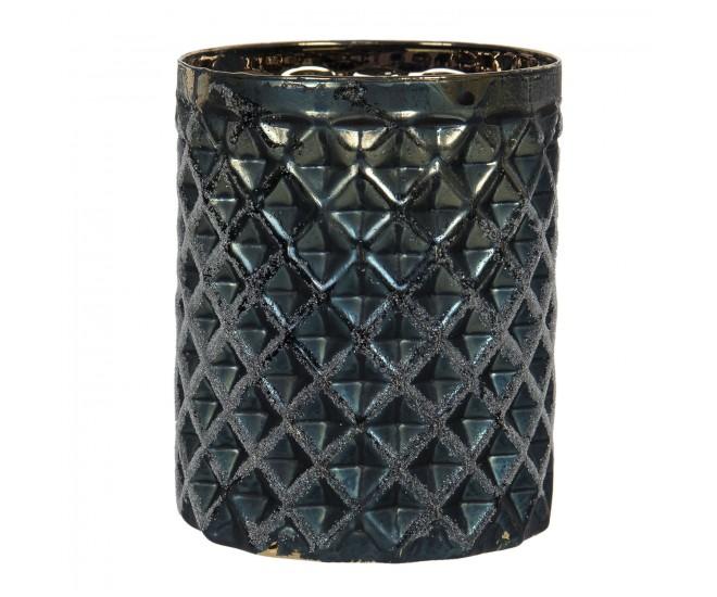Tmavě šedý skleněný svícen na čajovou svíčku Silvain - Ø 7*8 cm