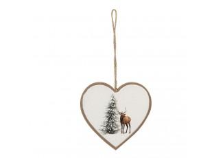 Závěsná dekorace srdce s jelenem - 10*1*9 cm