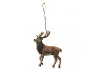Dřevěná závěsná dekorace Jelen - 10*13 cm