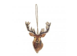 Dřevěná závěsná dekorace Jelen - 9*12 cm