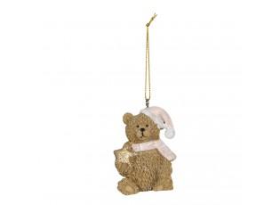 Závěsná dekorace medvídek s čepicí - 4*4*5 cm