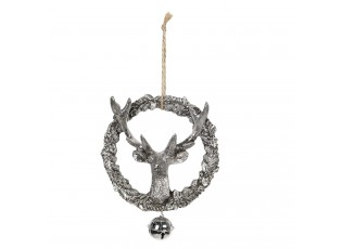 Stříbrná dekorace Jelen s rolničkou - 12*3*15 cm