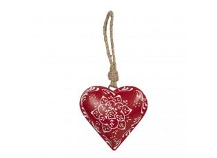 Závěsná plechová dekorace červené srdce I - 10*2*10 cm