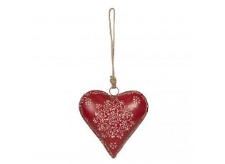 Závěsná plechová dekorace červené srdce - 16*4*16 cm