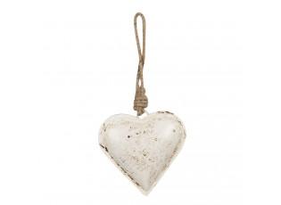 Závěsná plechová dekorace bílé srdce - 10*2*10 cm