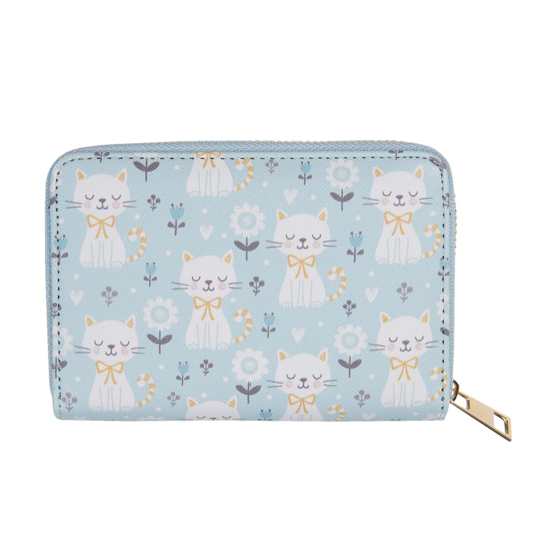 Levně Clayre & Eef Modrá peněženka s kočičkama Kitty - 10*15 cm