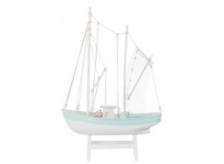 Dřevěná dekorace lodi na podstavci Fisher - 26*11*55 cm