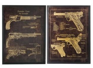 2 kovové obrazy pistole black Pistols - 60*3,5*80 cm