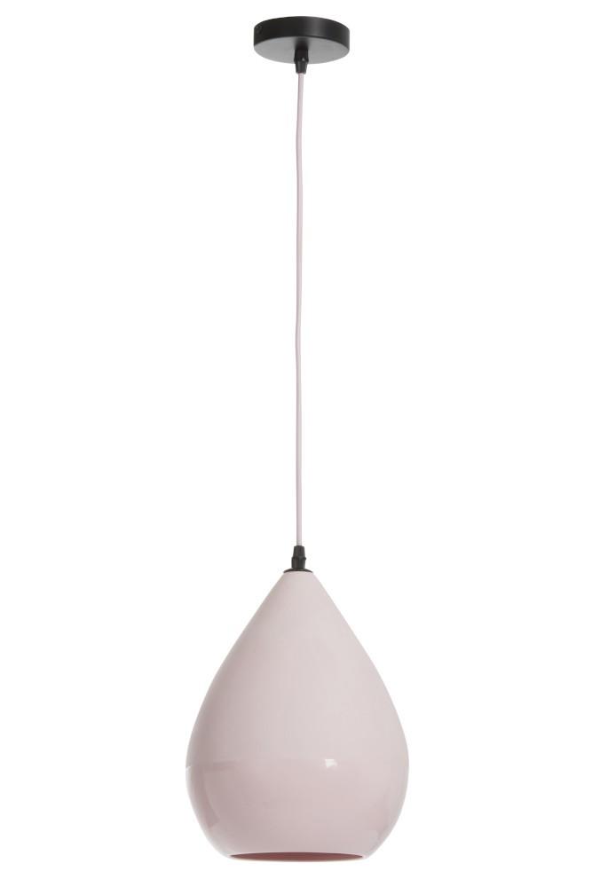 J-Line by Jolipa Růžová závěsná porcelánová lampa Drop - Ø 21*29,5 cm