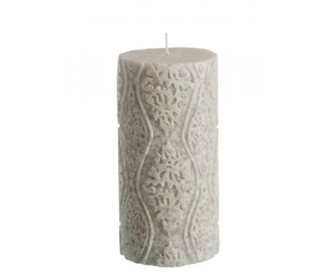 Mintová válcovitá svíčka s ornamenty - Ø7,5*15cm