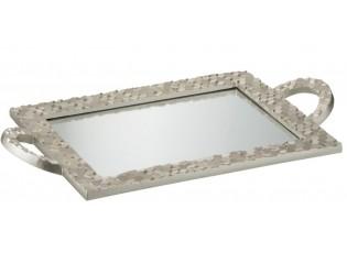 Stříbrný oválný tác se zrcadlem Hexagon - 48*26*4 cm