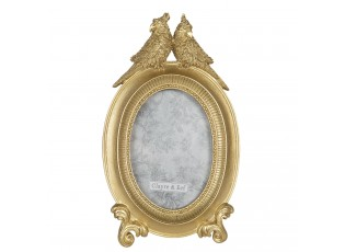 Zlatý oválný fotorámeček s papoušky - 16*3*25 cm / 10*15 cm