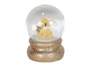 Malé zlaté sněžítko s flitry a medvídkem – Ø 4*5 cm
