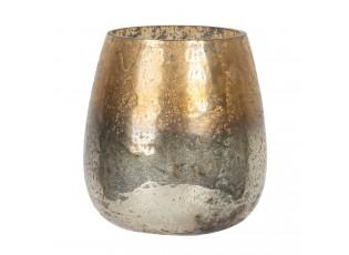 Stříbrno-zlatý skleněný svícen - Ø 9*10 cm