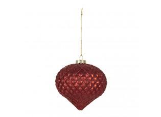 Skleněná červená vánoční ozdoba (sada 4ks) - Ø  10 cm