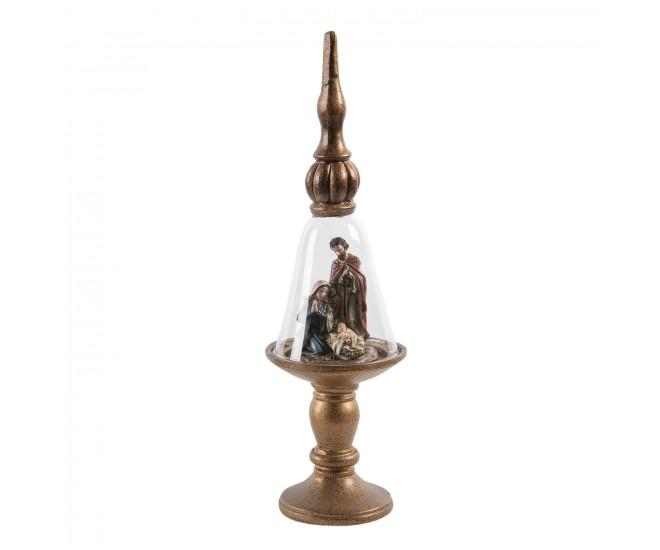 Hnědo-zlatý skleněný betlém na podstavci s ozdobou -  Ø 9*31 cm