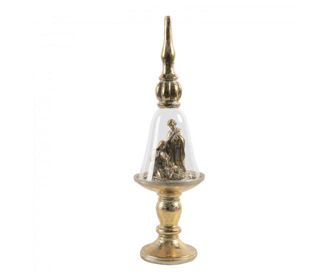 Zlatý skleněný betlém na podstavci s ozdobou -  Ø 9*31 cm