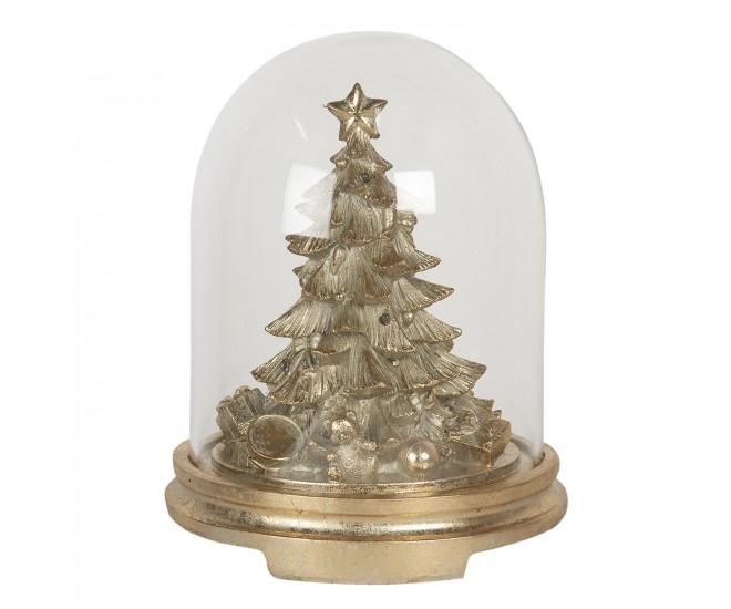 Zlatá dekorace vánoční stromek pod poklopem s LED osvětlením - Ø 25*32 cm