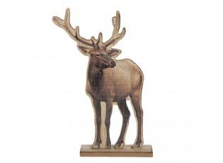 Dekorace dřevěného soba na podstavci - 16*4*25 cm
