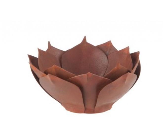 Hnědo-rezavý kovový svícen na čajovou svíčku Leknín  - Ø 14*5,8 cm