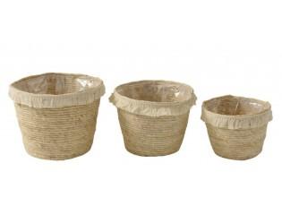 Set 3ks košíků / květináčů z mořské trávy s třásněmi - 26*26*21 cm