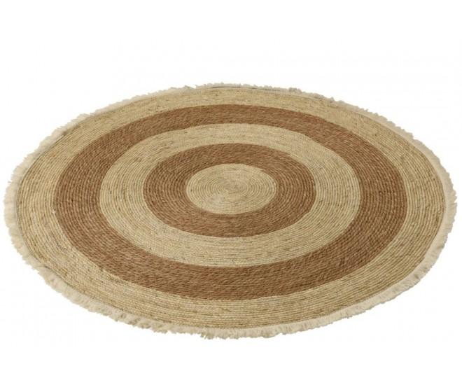 Přírodně-hnědý kulatý koberec z mořské trávy s třásněmi - Ø 120 cm