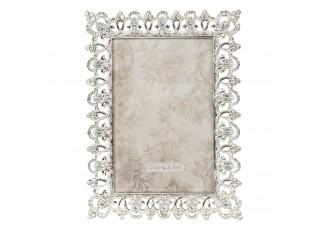 Zdobený stříbrný fotorámeček s kamínky Aimeri - 14*2*19 cm / 10*15 cm