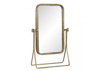Zrcadlo ve zlatém kovovém vintage stojanu - 24*10*38 cm