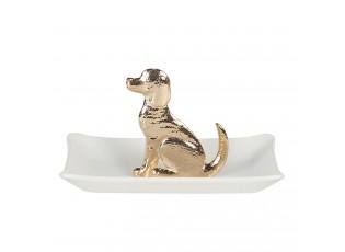 Bílá miska se zlatým psem - 11*8*6 cm