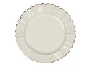 Krémový melaninový talíř / podnos s patinou - Ø  33 cm
