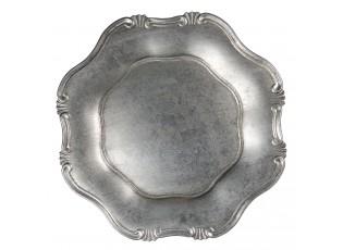 Stříbrný melaninový talíř / podnos s patinou - Ø 33 cm