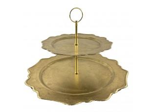 Zlatý melaminový 2-patrový etažér - Ø 32*32 cm