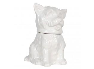 Bílá keramická skladovací dóza s designem psa Campagne - 20*20*26 cm