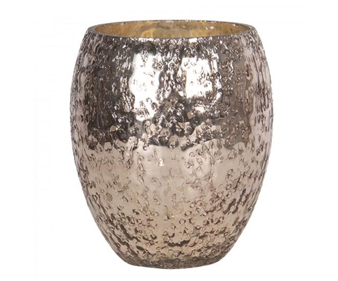 Růžovo - stříbrný skleněný svícen - Ø 14*11 cm