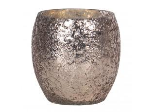 Růžovo - stříbrný skleněný svícen - Ø11*10 cm
