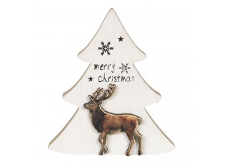 Dřevěná dekorace Vánoční stromeček se sobem - 16*2*14 cm