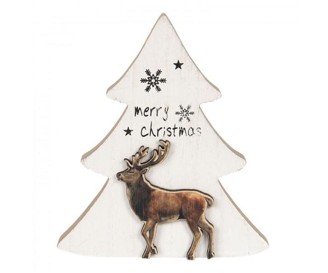 Dřevěná dekorace vánoční stromeček s jelenem - 16*2*14 cm