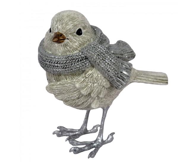 Dekorace ptáček se šálou - 12*9*11 cm