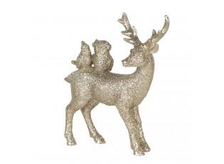 Zlatá dekorace Jelen se zvířátky - 11*4*13 cm